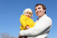 Little girl with father in spring park Stock Images