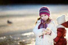 Little girl feeding ducks at winter Royalty Free Stock Images