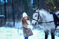 Little girl feeding little horse pony winter. Stock Images
