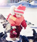 Little girl feeding pigeons in winter royalty free stock image
