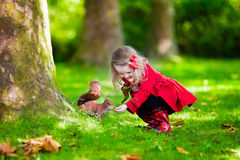 Little girl feeding a squirrel in autumn park. Girl feeding squirrel in autumn park. Little girl in red trench coat and rain boots watching wild animal in fall Stock Photo