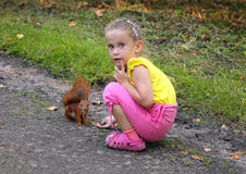 Little girl feeding squirrel with nuts Royalty Free Stock Image