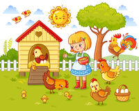 A little girl feeds chickens and hens. Stock Images