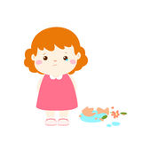Little girl feel guilty cartoon. Little girl broken vase feel guilty cartoon  illustration Royalty Free Stock Images