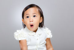 Little girl feel surprise Royalty Free Stock Photography