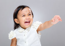 Little girl feel upset and hand raised up Royalty Free Stock Images