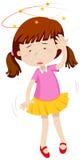Little girl feeling dizzy Stock Images