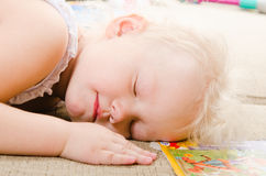 Little girl fell asleep Royalty Free Stock Photo