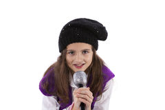 Little girl. Female child singing isolated on white Stock Images