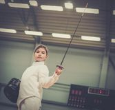 Little girl fencer Stock Photos