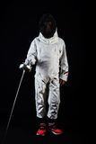 Little girl in fencing costume Royalty Free Stock Photo