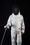 Little girl in fencing costume Stock Image