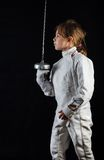 Little girl in fencing costume Royalty Free Stock Photos