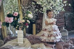 Little girl in a festive dress in the interior. Among the flowers Royalty Free Stock Images