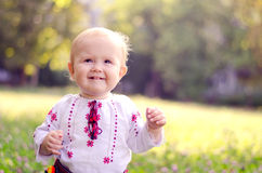 Little girl in a field. A little girl dressed in Ukrainian folk costume in the field royalty free stock image