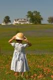 Little girl in field of flowers Stock Image