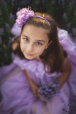 Little girl in a field of lavender royalty free stock image