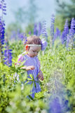 Little girl in a field Royalty Free Stock Images