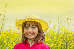 Little girl on a field with  rapeseed Royalty Free Stock Photography