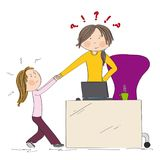 Little girl fighting mother`s attention, tugging her hand. Mum wants to work on her laptop, but her daughter won`t let her. Hand drawn illustration Royalty Free Stock Photo
