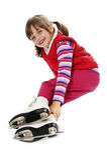 Little girl figure skating Stock Photography