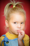 Little girl with finger on mouth Royalty Free Stock Photo