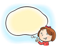 Little girl finger pointing. Happy little girl finger pointing at blank speech bubble Royalty Free Stock Images