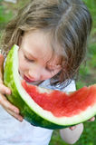 Little girl finishes watermelon Stock Photography