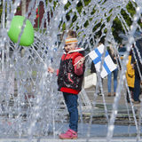 Little girl, Finnish Fan in Front of Minsk Arena Stock Photography