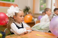 Little girl for the first time in school Royalty Free Stock Images