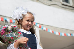 Little girl for the first time in school Royalty Free Stock Photos