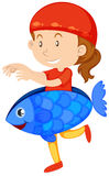 Little girl in fish costume. Illustration Royalty Free Stock Photo