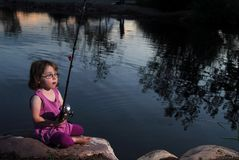 Little Girl Fishing Stock Photo