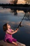Little Girl Fishing Stock Photos