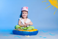 Little girl fishing Royalty Free Stock Photo