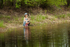 Little girl are fishing Royalty Free Stock Image