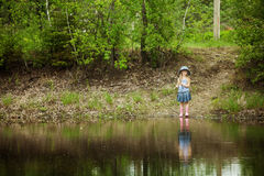 Little girl are fishing Stock Photography