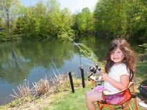 Little Girl Fishing Stock Image