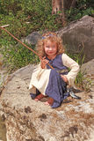 Little girl with fishing Royalty Free Stock Photos