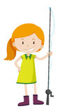Little girl with fishing pole Stock Photos