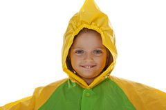 Little girl five years old with raincoat Stock Photos