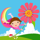 Little girl flies in the sky with flowers. Illustration of  girl flies in the sky with flowers Royalty Free Stock Photo