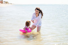 Little girl with a floater Royalty Free Stock Photo