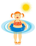 Little Girl Floating at the Beach or Pool. Illustration of a cute excited little girl who feels grown-up to be floating in her inner-tube at the beach or Stock Image