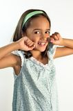 Little Girl Flossing her Teeth Royalty Free Stock Photo