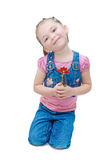 Little girl and flower Royalty Free Stock Photo