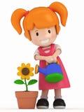 Little Girl and Flower Stock Photos