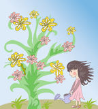 Little girl and flower Royalty Free Stock Image