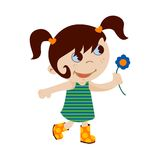 Little girl with flower. Cartoon illustration of a cute little girl holding a flower Royalty Free Stock Images
