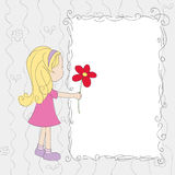 Little girl with flower on blank card Royalty Free Stock Photography